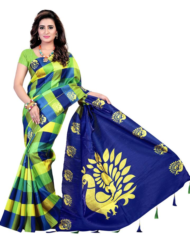f204de03c33 Buy   Shop bellbirdfab parrot green fancy poly silk saree Online India