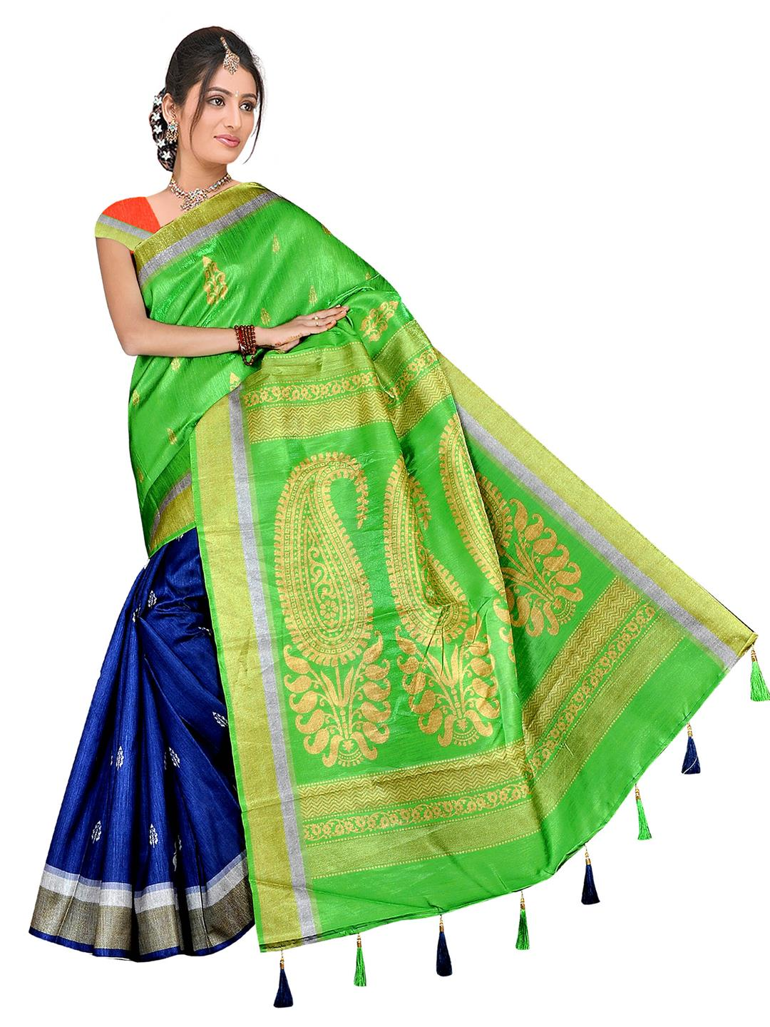 73e9f43dd79 Buy   Shop bellbird fab parrot and blue fancy Designer poly silk saree  Online India