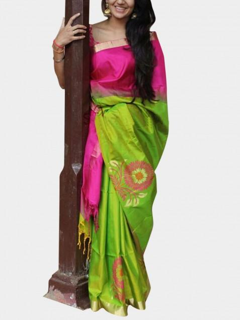 8f96c695ae1 Buy   Shop Bellbird fab pink and parrot poly silk fancy designer saree  Online India