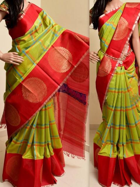 d8f7077e4de Buy   Shop Bellbird fab parrot and red poly silk fancy designer saree  Online India